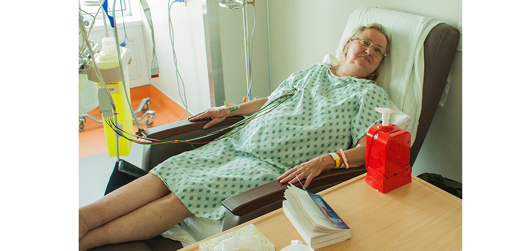 While recovering from a cardiac procedure, Norma Maege finds it more comfortable to relax and sleep in one of the hospital's new custom-made reclining chairs, rather than in a hospital bed. (Click on this or any photo to enlarge it.)