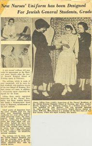 Newspaper article from 1950 about the fashionable uniforms for students at the JGH School of Nursing, which was soon to open.