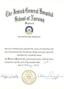 Diploma of the JGH School of Nursing, dated February 13, 1954.